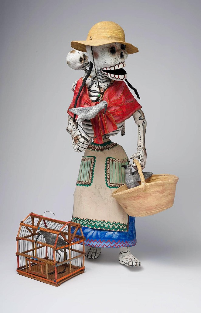 Miguel Linares, Skeleton Street Vendor, Mexico, ca. 1965 , Papier-mâché, paint, wire, and cord,The Nelson A. Rockefeller Mexican Folk Art Collection, 85.98.591 - COURTESY OF SAN ANTONIO MUSEUM OF ART