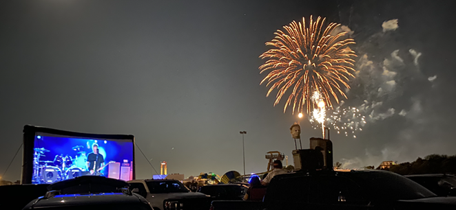 Real fireworks marked the finale of Metallica's drive-in concert at Fiesta Texas. - MIKE MCMAHAN