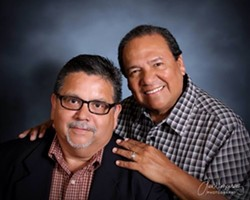 San Antonians Mike Rodriguez (left) and Brad Veloz have been together for nearly 40 years. - BRAD VELOZ