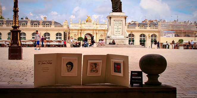 Spare Parts' MIni Art Museum, featuring minature works from three San Antonio artists is being displayed across Europe this month. - COURTESY