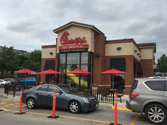 Customers line up outside a San Antonio Chick-fil-A restaurant. - SANFORD NOWLIN