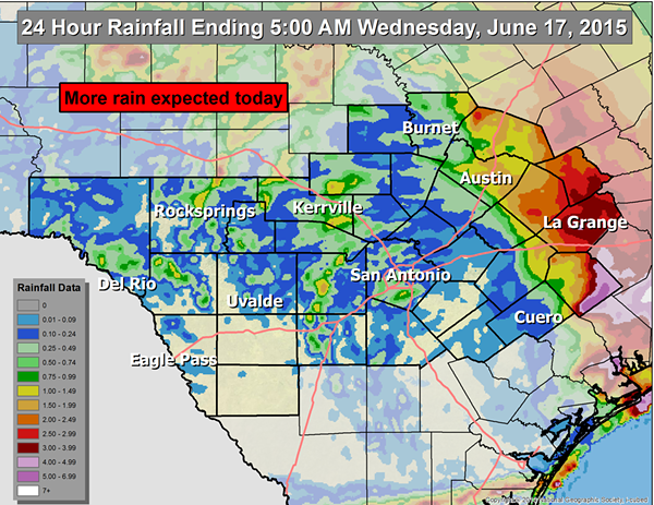 Bexar County missed out on the heaviest rains from Tropical Depression Bill. - NATIONAL WEATHER SERVICE AUSTIN-SAN ANTONIO