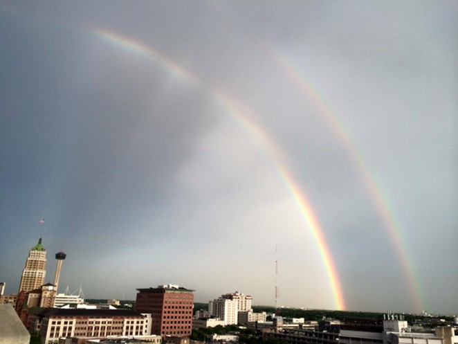 Double rainbow. Oh my god. It's a double rainbow. So intense. Whoa. That's so intense. - ELIZABETH CASTRO/FACEBOOK