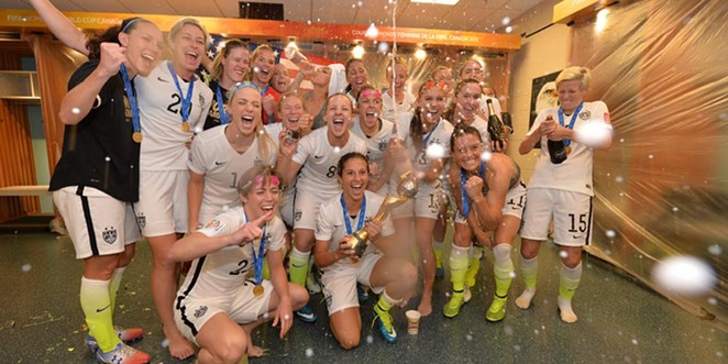 The world champion U.S. Women's Soccer team beat Japan 5-2 yesterday. - U.S. SOCCER