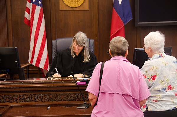 Jordan Reed (right) and Donna Reed (left) were the second same-sex couple to receive a marriage license in Bexar County, following today's monumental Supreme Court ruling. The couple has been together for 47 years. - ALBERT SALAZAR