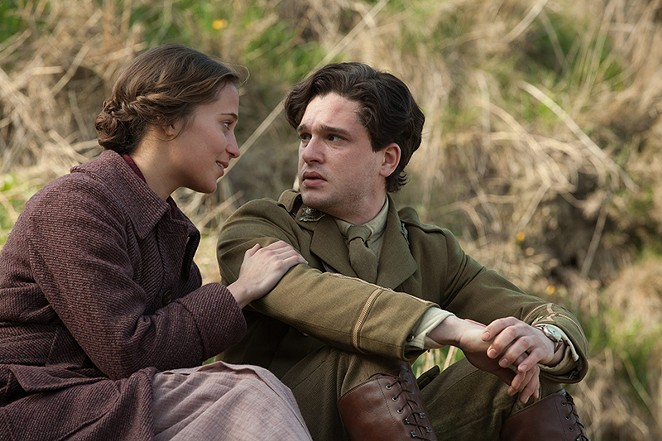 Alicia Vikander (as Vera Brittain) and Kit Harrington (as Roland Leighton) in a scene from Testament of Youth.