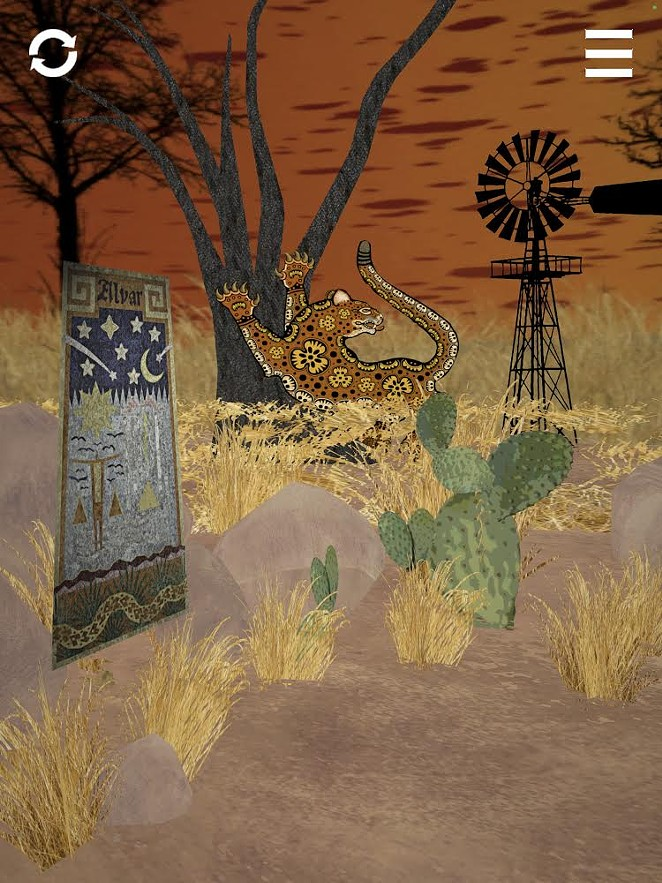 A screenshot from the Featured Artist gallery showcases the work of Red Dot Honorary Artist César A. Martínez. The career-spanning installation is displayed in an environment created from an artwork in the artist's South Texas Series, Huizache Jaguar, 2011. - COURTESY OF BLUE STAR CONTEMPORARY