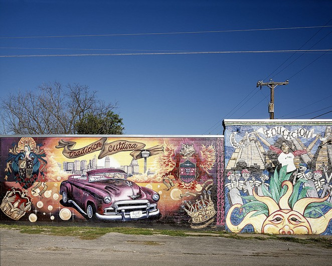 Mural on building on Guadalupe Street and South Chupaderas in the Avenida Guadalupe neighborhood located on the West side of San Antonio, Texas, 03/17/2005. - CAROL HIGHSMITH/LIBRARY OF CONGRESS VIA PINGNEWS.