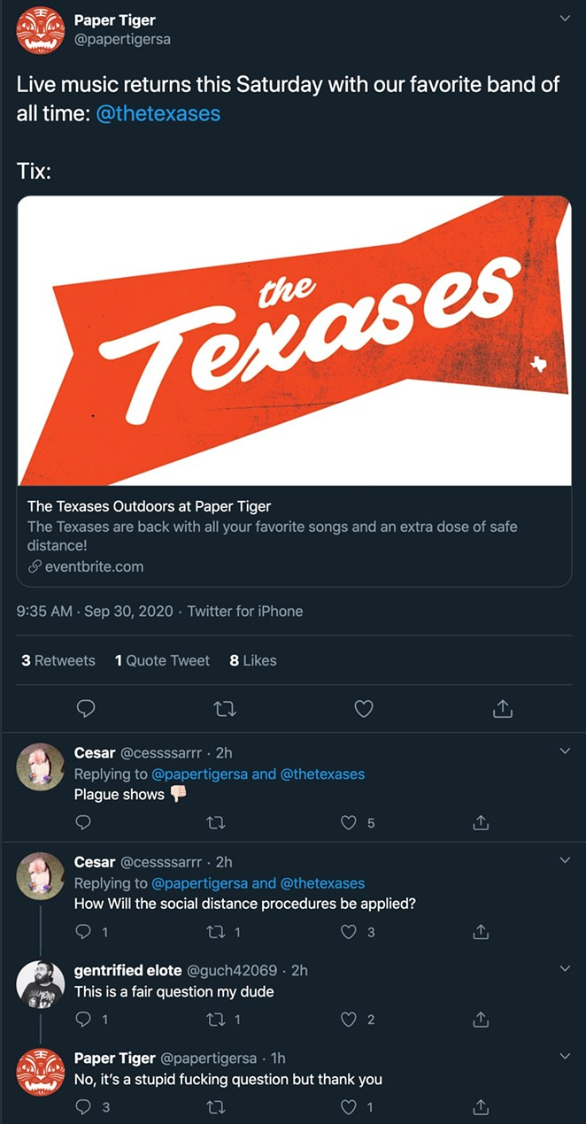 A screenshot by @readartman shows the full exchange prior to the deletion of several tweets by both @paperrtigersatx and @cessssarrr - TWITTER / READARTMAN