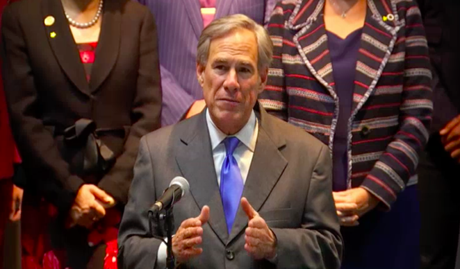 Gov. Greg Abbott speaks at a recent press conference. - SCREEN CAPTURE / NBCDFW.COM