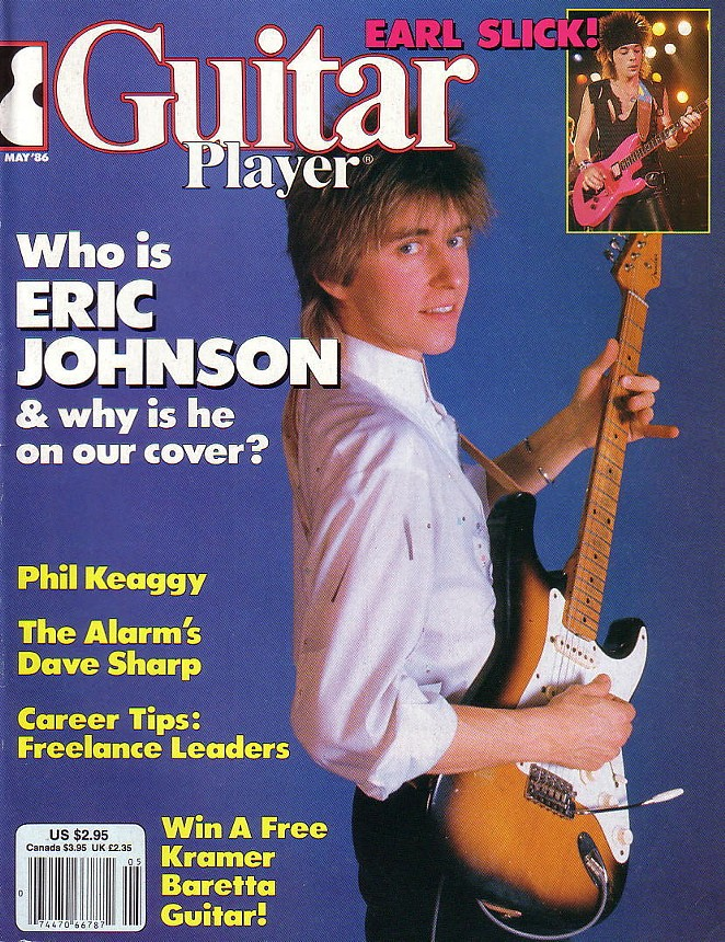 Eric Johnson on the cover of Guitar Player in 1986 - GUITAR PLAYER MAGAZINE
