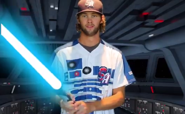 Missions players will wear this R2-D2 jersey for Star Wars Night. - TWITTER USER @MISSIONSMILB