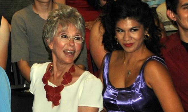Rita Moreno (left) with actress Alyssa Lopez, who plays Moreno's character Anita at Woodlawn's showing of West Side Story. - KIKO MARTINEZ