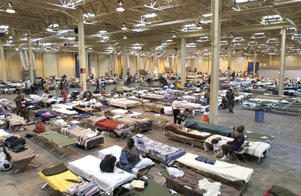 Estimates vary, but somewhere between 25,000 and 35,000 evacuees from Hurricane Katrina were funneled to San Antonio. - TECH. SGT. MARK BOROSCH/U.S. AIR FORCE