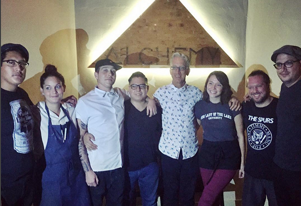 Andy Dick with the staff at Alchemy Kombucha and Culture. - @SPIDERJUESE/INSTAGRAM