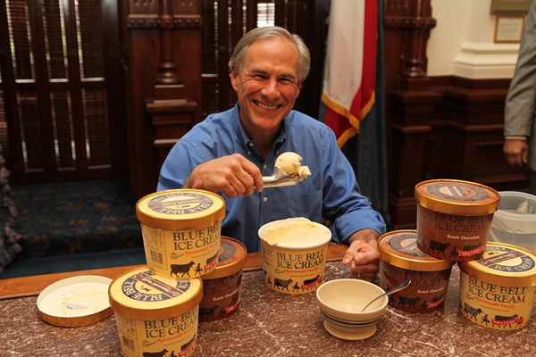 Governor Abbott is glad to have Blue Bell back in his mouth. - COURTESY