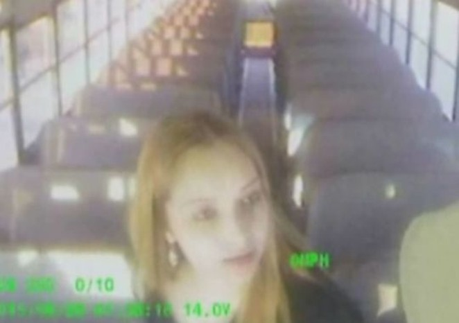 Bus surveillance video showing one of three unidentified women who boarded a school bus while intoxicated. - NORTH EAST ISD