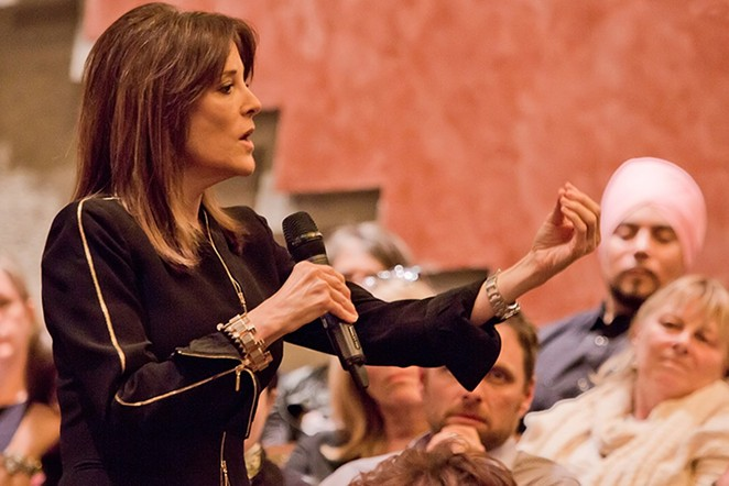 Williamson made a name for herself as a self-help guru, including a stint leading Warren's Church of Today. - COURTESY PHOTO / MARIANNE WILLIAMSON