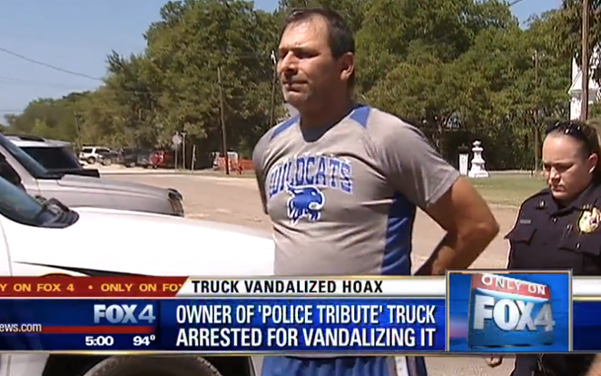 Scott Lattin was arrested for filing a false police report after he vandalized his truck and blamed it on #BlackLivesMatter activists. - FOX4
