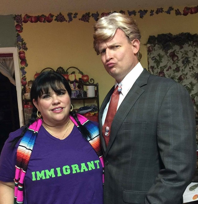 Celeste Tidwell (left) and her husband Dave played  up their political differences in this Halloween photo. - COURTESY OF CELESTE TIDWELL