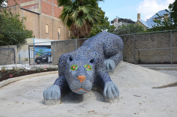Check out this blue panther sculpture, as well as food, music, and other artwork, this weekend at Yanaguana Gardens. - BRYAN RINDFUSS