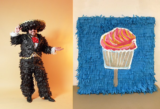 Mr. Pinata SA himself, Avi Avalos, donated original artwork for the Huevos Rancheros Gala art auction. - COURTESY