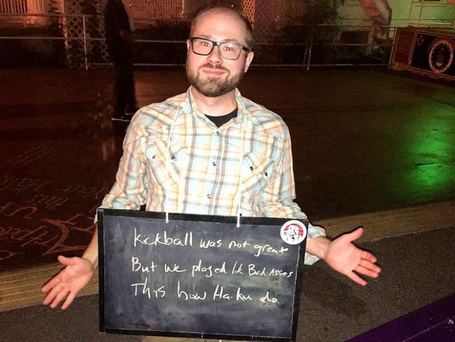 Guerilla Haiku Movement takes chalk poetry to the San Antonio Coalition for Life. - VIA FLICKR CREATIVE COMMONS (GUERILLA HAIKU MOVEMENT)