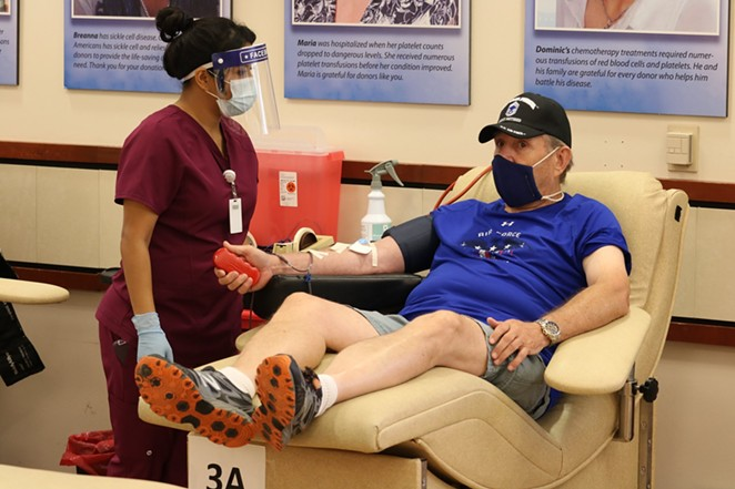 A donor gives blood at a South Texas Blood and Tissue Center site. - FACEBOOK / SOUTH TEXAS BLOOD & TISSUE CENTER - DONOR PAVILION