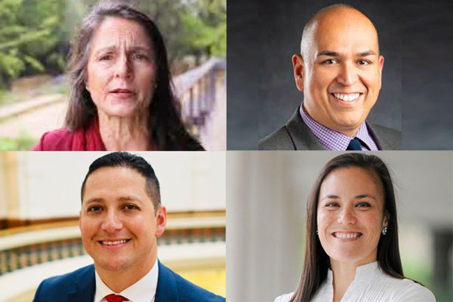 North East ISD District 3 candidates Ione McGinty and Omar Leos. Texas District 23 Congressional candidates Republican Tony Gonzales and Democrat Gina Ortiz Jones. - ALL PHOTOS / FACEBOOK
