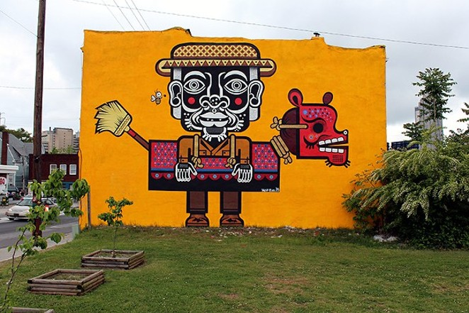 A mural by Mexican muralist Miguel Mejia (aka Neuzz) . - COURTESY