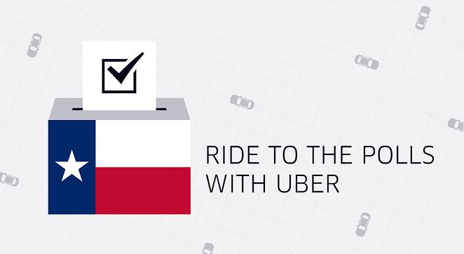 Uber is offering free rides to the polls for first-time riders. - COURTESY