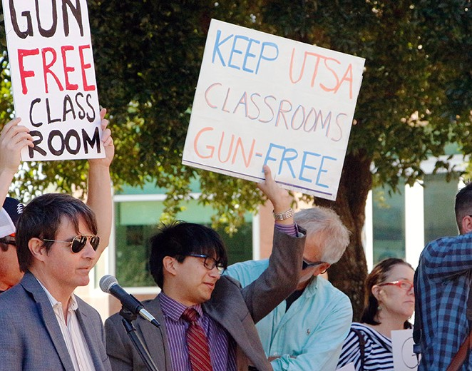 Last week students and faculty held a anti-campus carry rally at the UTSA Downtown Campus. - GABBY MATA