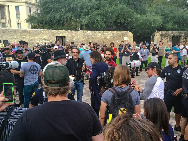 Ozzy Osbourne was swarmed by fans during what was supposed to be an under-the-radar visit to the Alamo on Thursday. - ALBERT SALAZAR