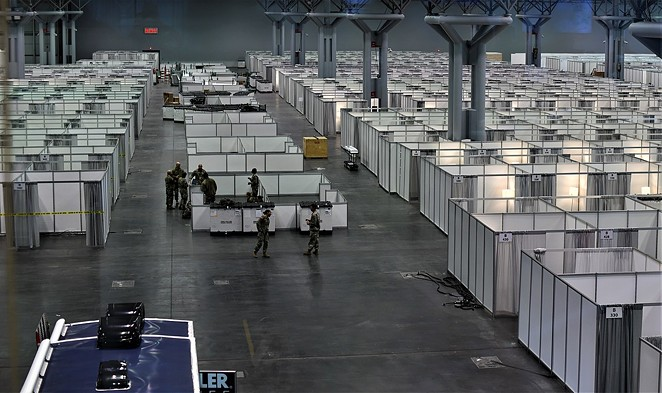 National Guard members set up a field hospital to handle patient overflow in New York this spring. - WIKIMEDIA COMMONS / THE NATIONAL GUARD