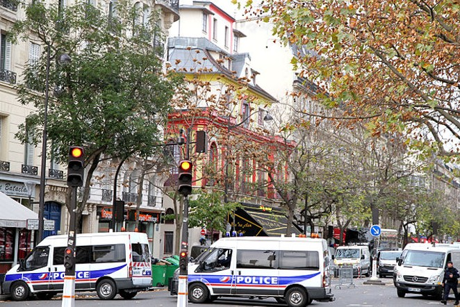 The Bataclan Theatre, a day after a terrorists killed more than 80 people in Paris, France. - MAYA-ANAÏS YATAGHÈNE FROM PARIS | WIKIPEDIA
