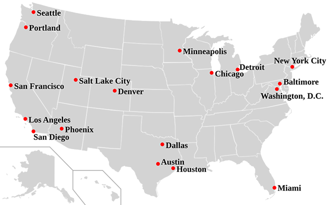 This map shows sanctuary cities in the United States. - SAN ANTONIO CURRENT