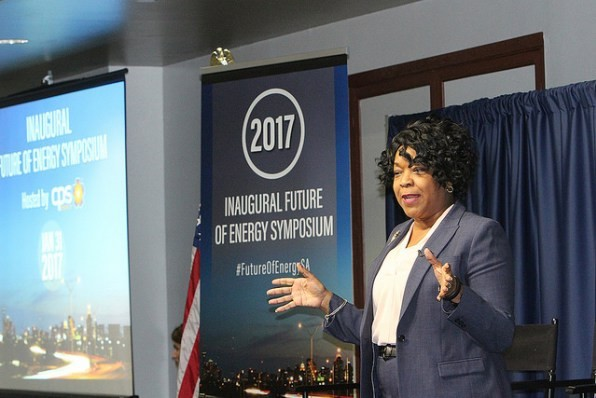 CPS Energy CEO Paula Gold Williams speaks during an energy symposium. - CPS ENERGY