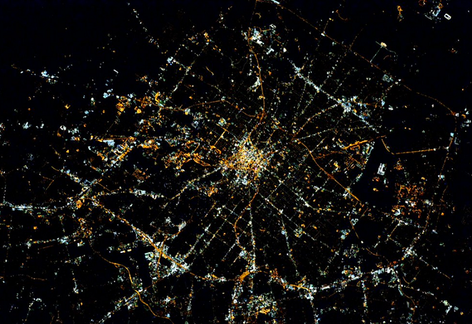 San Antonio from space - VIA TWITTER USER @STATIONCDRKELLY