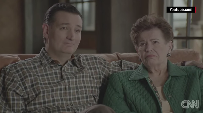 Ted Cruz and his mother, Eleanor Darragh. - YOUTUBE SCREENSHOT