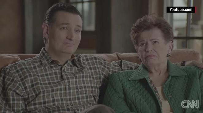 Ted Cruz and his mother, Eleanor Darragh. - YOUTUBE SCREENSHOT