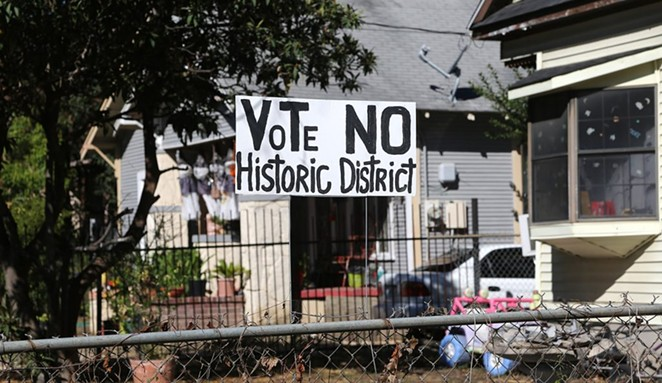 This sign against the Buena Vista Historic District can be seen on Saunders Avenue.