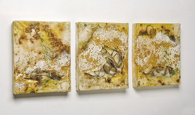 Belto's encaustic and mixed-media triptych Liquifaction - COURTESY
