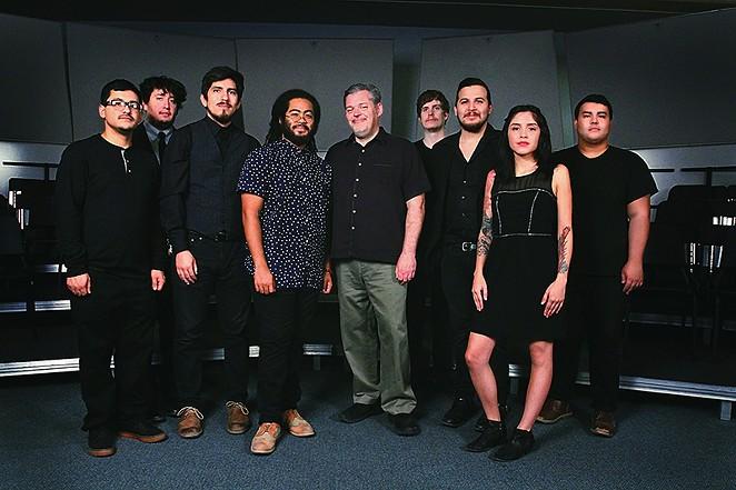From left to right: Stephen Flores; Joseph Eric Montano; Devin De Leon; Darian Thomas; Troy Peters (YOSA director); Jordan McCarthy; Michael Carrillo; Courtney Jeanette Sanchez; Kristian Barboza - BRANDY RAE PEREZ