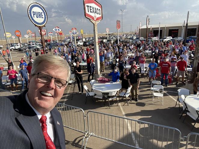 Lt. Gov. Dan Patrick snaps a selfie at a Texas MAGA rally. - TWITTER / DANPATRICK