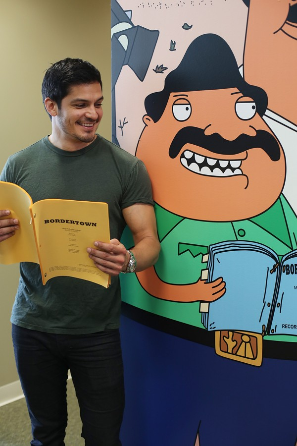 Gonzalez reading from the script of forthcoming Bordertown - COURTESY