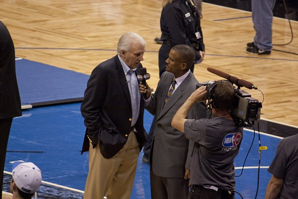 Spurs Coach Gregg Popovich during what was likely a cringeworthy interview. - WIKIMEDIA