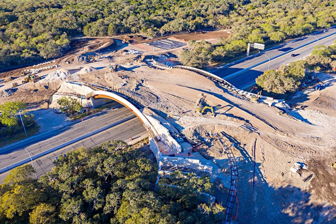 A photo of ongoing construction on the land bridge taken in November 2020. The bridge opens to the public on December 11. - JUSTIN MOORE, AIRBORNE AERIAL PHOTOGRAPHY
