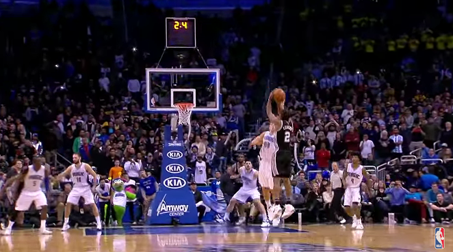 Kawhi Leonard lifts a shot over Aaron Gordon. - YOUTUBE SCREENSHOT/NBA