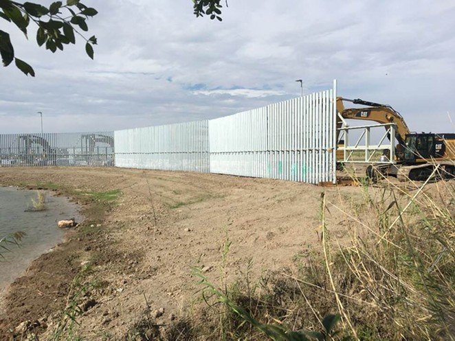 A section of wall being erected near the National Butterfly Center in South Texas. - FACEBOOK / NATIONAL BUTTERFLY CENTER