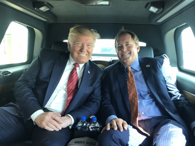Ken Paxton, shown here with President Donald Trump, is co-chair of the Lawyers for Trump coalition. - TWITTER / @KENPAXTONTX